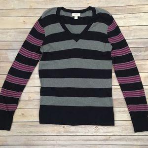 LOFT mixed stripe v neck sweater